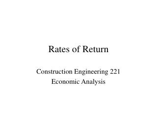Rates of Return