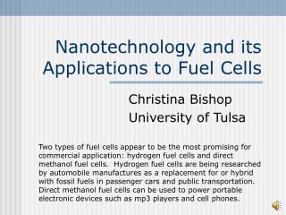 Nanotechnology and its Applications to Fuel Cells