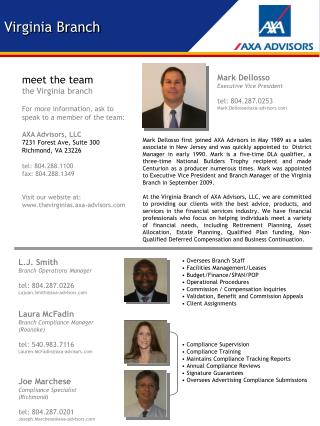 meet the team the Virginia branch For more information, ask to speak to a member of the team: