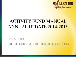ACTIVITY FUND MANUAL ANNUAL UPDATE 2014-2015