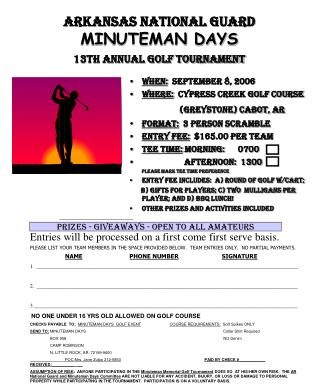 Arkansas National Guard MINUTEMAN DAYS 13th ANNUAL GOLF TOURNAMENT