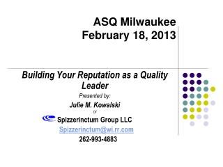 ASQ Milwaukee February 18, 2013