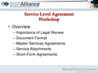 Service Level Agreement Workshop