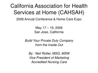 California Association for Health Services at Home (CAHSAH)