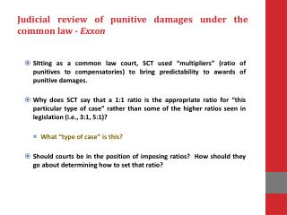 Judicial review of punitive damages under the common law -  Exxon