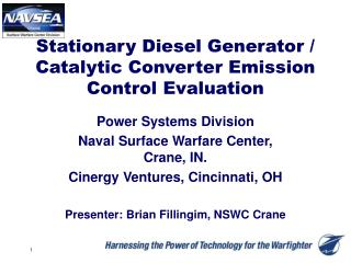 Stationary Diesel Generator / Catalytic Converter Emission Control Evaluation