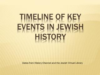 Timeline of Key Events in Jewish history