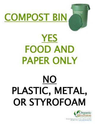 YES FOOD AND PAPER ONLY NO PLASTIC, METAL, OR STYROFOAM