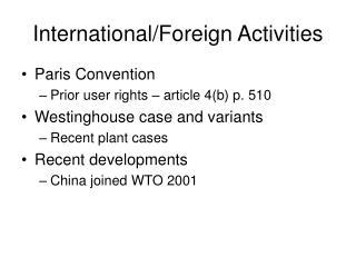 International/Foreign Activities