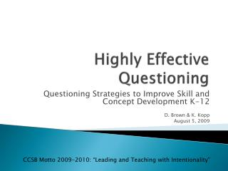 Highly Effective Questioning