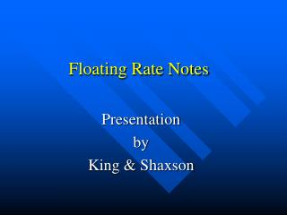 Floating Rate Notes