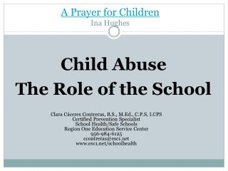 A Prayer for Children  Ina Hughes