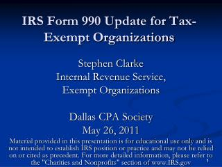IRS Form 990 Update for Tax-Exempt Organizations