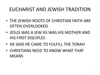 EUCHARIST AND JEWISH TRADITION