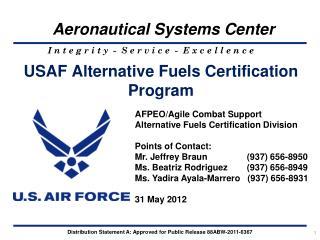 USAF Alternative Fuels Certification Program