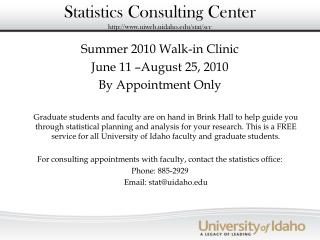 Statistics Consulting Center uiweb.uidaho/stat/scc