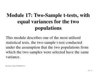 Module 17: Two-Sample t-tests, with equal variances for the two populations