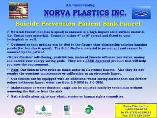 Suicide Prevention Patient Sink Faucet