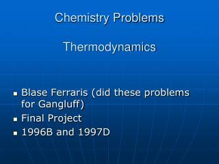 Chemistry Problems Thermodynamics