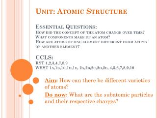 Aim :  How can there be different varieties of atoms?