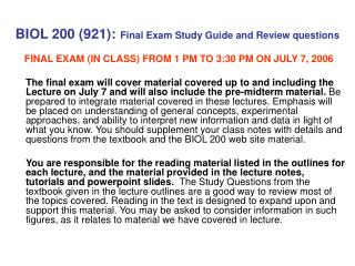 BIOL 200 (921): Final Exam Study Guide and Review questions