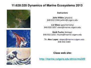 11:628:320 Dynamics of Marine Ecosystems 2013