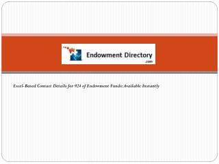 Excel-Based Contact Details for 924 of Endowment Funds: Available Instantly
