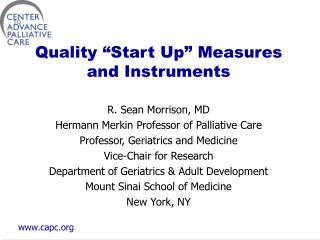 "Quality ""Start Up"" Measures and Instruments"