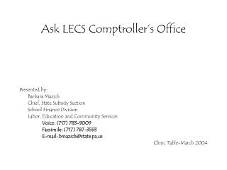 Ask LECS Comptroller's Office