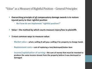 """""""Value"""" as a Measure of Rightful Position – General Principles"""