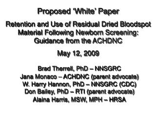 Proposed 'White' Paper