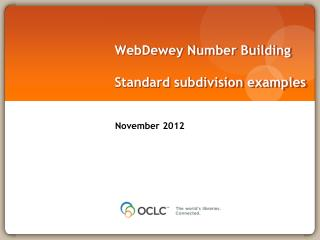 WebDewey  Number Building Standard subdivision examples