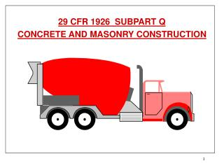 29 CFR 1926  SUBPART Q CONCRETE AND MASONRY CONSTRUCTION