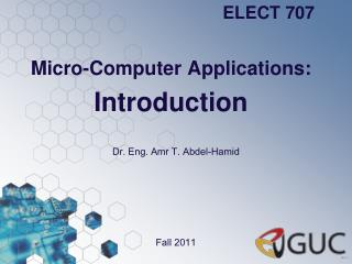 Micro-Computer Applications: Introduction