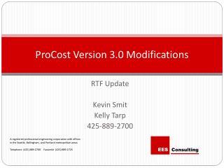 ProCost Version 3.0 Modifications