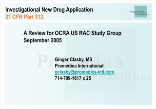 Investigational New Drug Application 21 CFR Part 312