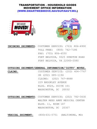 TRANSPORTATION – HOUSEHOLD GOODS MOVEMENT OFFICE INFORMATION (WWW.SMARTWEBMOVE.NAVSUP.NAVY.MIL )