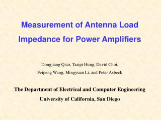 Measurement of Antenna Load  Impedance for Power Amplifiers