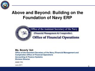 Above and Beyond: Building on the Foundation of Navy ERP