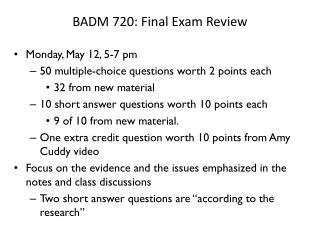 BADM 720: Final Exam Review