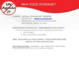 WHY FOOD STORAGE?