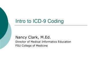 Intro to ICD-9 Coding