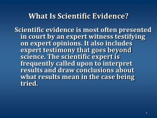 What Is Scientific Evidence?