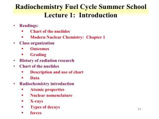 Radiochemistry Fuel Cycle Summer School Lecture 1:  Introduction
