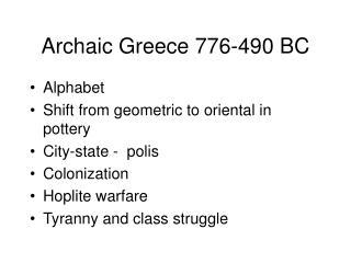 Archaic Greece 776-490 BC