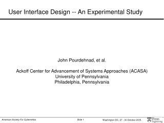 User Interface Design -- An Experimental Study