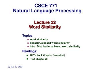 Lecture 22 Word Similarity