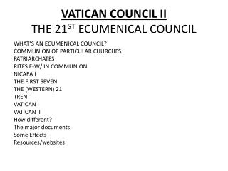 VATICAN COUNCIL II THE 21 ST  ECUMENICAL COUNCIL