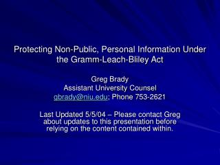 Protecting Non-Public, Personal Information Under the Gramm-Leach-Bliley Act