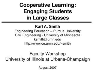 Cooperative Learning: Engaging Students  in Large Classes